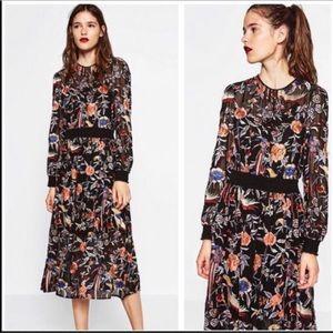 Nwt Zara Birds & Floral Embroidered Midi Dress XS